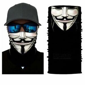 FACE MASK FACE COVER 3D GUY FAWKES White V for Vendetta Anonymous Neck Sock