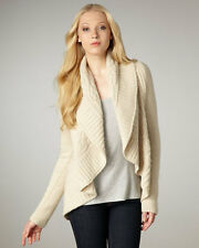 NEW Autumn Cashmere Draped Cable-Knit Cardigan- Natural size XS