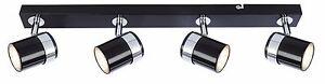 Modern 4 way LED GU10 ceiling spotlight black&chrome bar