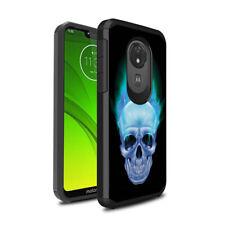 Slim Thin Black Case Cover Motorola Moto G7 Optimo Maxx XT1955 Blue Flame Skull