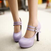 Women Ladies High Heel Platform Mary Jane Fashion Buckle Wedding Shoes Plus Size