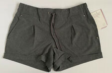 MONDETTA Womens Gray Tie Front Shorts Large Stretch Performance Gear L NWT