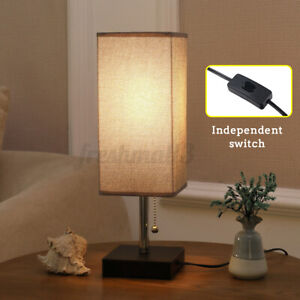 85-265V Wide Voltage Bedside Table Desk Lamp With Fabric Shade Iron Base