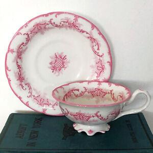 c.1862-1890 Brown Westhead&Moore W.W.Wattles Pink Tea Cup&Saucer Cauldon England
