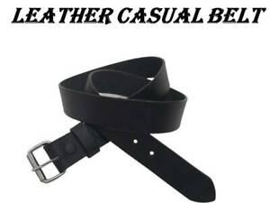 "Leather Casual Belt | Black Genuine Interchange Buckle | Easy Fitting 1.5"" size"