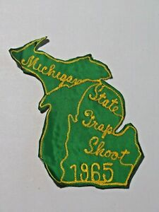 Vintage Michigan State Trap Shoot 1965 Patch large Embroidered Silk Back 7970