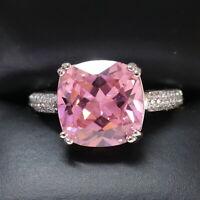 5 Ct Princess Pink Sapphire Ring Women Jewelry 14K White Gold Plated Free Ship