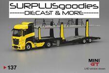 TSM Model 2020 Mini-GT 1:64 Yellow MERCEDES-BENZ ACTROS Car Carrier Transport