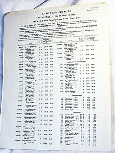Gilbert American Flyer 1959 Price List Very Rare