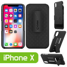 For Apple iPhone X Holster Combo Case with Kickstand and Swivel Belt Clip