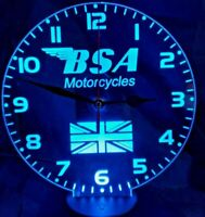 BSA Motorcycles LED neon Clock  engraved on Acrylic