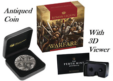 WARFARE – ROMAN LEGION 2018 2oz Silver Antique HIGH RELIEF RIMLESS Coin 3D VIEW