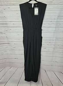 PURE HYPE womens size L short sleeve jumpsuit black classic tapered leg #177