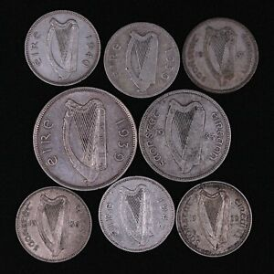 Lot of 8 Coins Ireland 1928-1942 75% Silver 1/2 Crown Florin Shillings 58.34g