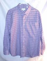 Tommy Bahama Mens Shirt Size 17.5 Purple Check Long Sleeve Button Down Cotton