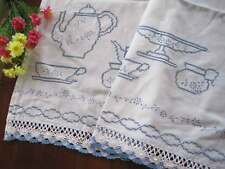Country Blue Teapot Cup Cross Stitch Embroidery Crochet Lace White Curtain CL