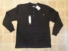 NWT DICKIES 3 Button Henley SHIRT Mens L Heavyweight Pocket Longsleeve Work Wear