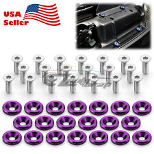 20Pcs Purple Billet Aluminum Fender Bumper Washer Bolt Engine Bay Screw Kit JDM