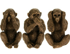 Monkey Statue Three Wise Monkeys Bronze Sculpture See No Hear No Speak No Evil