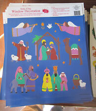 Christmas Wholesale Lot Of 10 Sheets Nativity static-cling Window Decorations