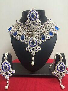 Indisch Hochzeit Braut Frau Modeschmuck Halskette Ohrring Rose Gold Schmuck Set
