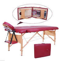 """2.5"""" Pad 91"""" Portable Massage Table 2-Section Salon SPA Red W/ Carry Bag"""