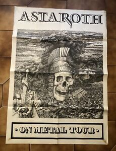 RARISSIMO IL PRIMO POSTER AFFICHE ORIGINALE ASTAROTH ON METAL TOUR ROMA/USA