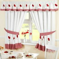 """POPPIES GINGHAM RED EMBROIDERED KITCHEN CURTAIN 66 X 54"""" & PELMET 136 X 10"""""""