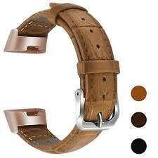 Genuine Classical Leather Band Straps With Metal Connectors for Fitbit Charge 3