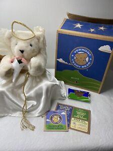 Vermont Angel Teddy Bear Halo WHite Dress Wings In original Box