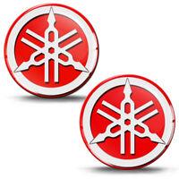 2 Resinati 3D Adesivi Yamaha R1 R6 Diapason Logo Emblem Rosso Auto Moto Casco