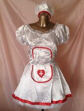 WHITE SILKY NURSE COSTUME DRESS HAT 2 X UNDERSKIRTS FANCY DRESS POLYESTER SMALL