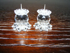 "Swarovski   Pair  Of   Miniature  1"" Inch  Candlesticks  Block  Logo  (Retired)"