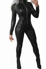 Black Front Zipped PU Coated Shiny Spandex Lycra Catsuit Jumpsuit UK  Size 12