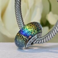 Glitter Rainbow Murano Glass and Silver Charm, Compatible with Charm Bracelets