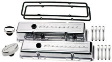 BILLET SPECIALTIES POLISHED TALL VALVE COVERS,CHEVROLET SCRIPT,PCV BREATHER,ACN