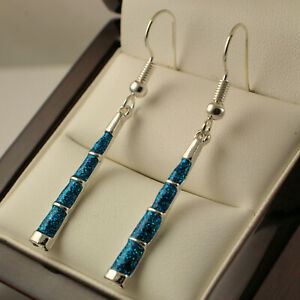 925 Sterling Silver Plated Simulated Blue Fire Opal Dangle Drop Earrings UK New