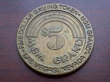 "$5 CASINO TOKEN --  1993 MGM GRAND HOTEL CASINO -- LAS VEGAS, NV -- ""OBSOLETE"""