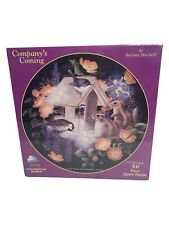 """Vintage 500 Piece Jigsaw Puzzle 19"""" Round Barbara Mitchell Company's Coming"""