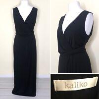 Kaliko Maxi Dress UK 18 Black Jersey Faux Wrap Stretch Long V Neck Sleeveless