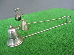 VINTAGE SILVER CANDLE SNUFFERS - LOT OF 2 - BALDWIN & MILLER & UNMARKED W/ GREEN
