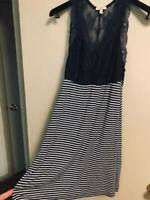 NEW Anthropologie S Bordeaux Grey Striped Racerback Lace Dress Sleeveless Small
