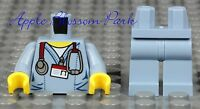 NEW Lego Minifig DOCTOR TORSO SAND BLUE LEGS Surgeon Scrubs Hospital Shirt Nurse