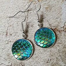 dolly 3D dragon Iridescent sea Ocean Unique Mermaid Scales Earrings mixed up