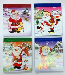 4 x Xmas Lined Christmas Jotter Pads 50 page Notebooks  4 Designs Ideal Xmas Box