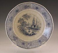 "ANTIQUE c.1840 JOHN RIDGWAY ""PARISIAN"" SIPPING SAUCER BLUE TRANSFERWARE"