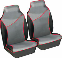 Pair of Heavy Duty Waterproof Black, Grey & Red Car Protection Front Seat Covers