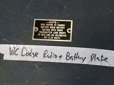 Jeep Dodge WC WWII truck Battery + Radio data plate (P64)