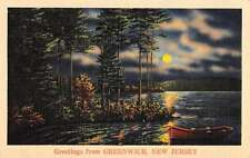 Greenwich New Jersey Row Boat Waterfront At Night Antique Postcard K64865