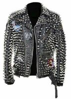 New Men Silver Studded Leather Jacket Custom Patches Long Spike Brando Belted